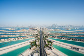 Aerial view of the famous palm shaped artificial island in Dubai, United Arab Emirates