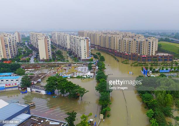Aerial view of the flooded area on July 5 2016 in Nanjing Jiangsu Province of China Continuous heavy rain in Jiangsu Province has affected about two...