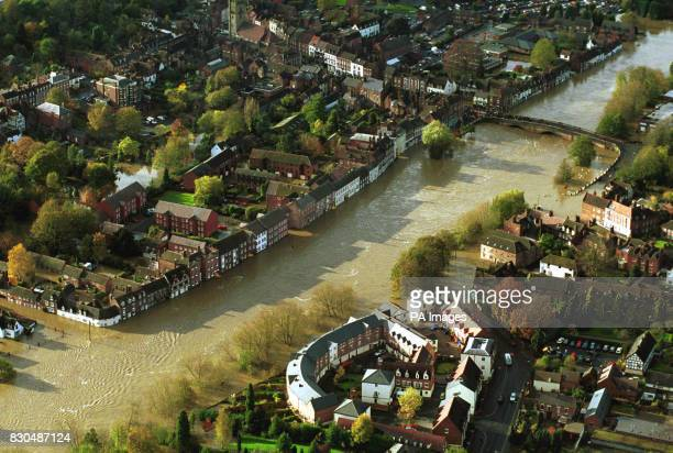A aerial view of the flooded river Severn as it passes through Bewdley England More rain swept across Britain swelling rivers already at bursting...