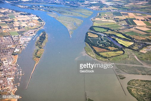 Aerial view of the Fraser River delta