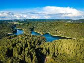 Aerial view of the Genkeltalsperre (Genkel dam). The Genkeltalsperre (Genkel dam) is a pure drinking water dam and is located in the urban areas of Gummersbach and Meinerzhagen.