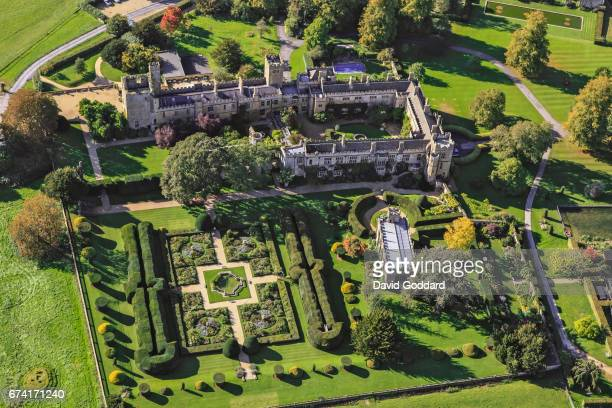 OCTOBER 04 Aerial view of the grade one listed Sudeley Castle Gloucestershire on October 04 2010 Located 1 km south east of Winchcombe in the shadow...