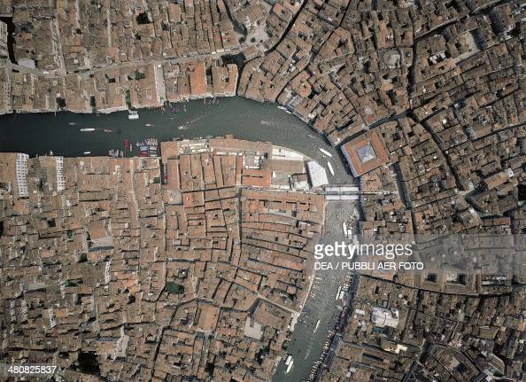 Aerial view of the Grand Canal in Venice Veneto Region Italy