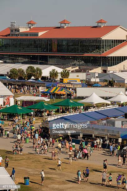 Aerial view of the Grandstand food boths and crowd during the 2015 New Orleans Jazz Heritage Festival presented by Shell at the Fair Grounds Race...
