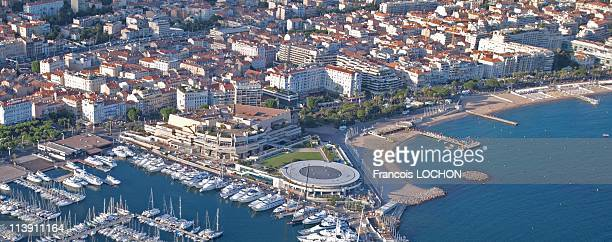 Aerial view of the harbour wharf and the Film Festival Palace in 2007 in Cannes France