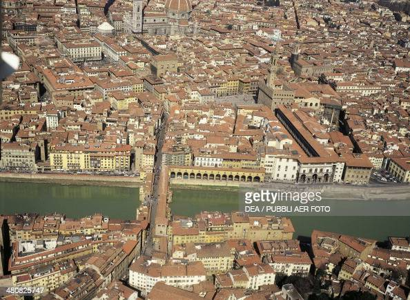 Aerial view of the historic centre of Florence with the river Arno Tuscany Region Italy