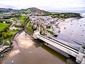 Aerial view of the historic town of Conwy with it's medieval castle - Wales - United Kingdom.