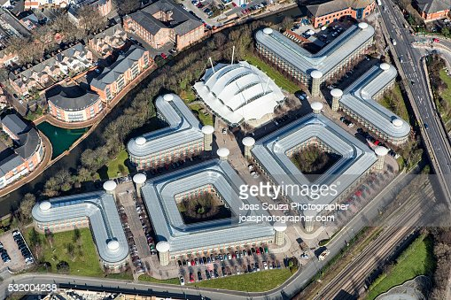 Aerial view of the HM Revenue & Customs offices in Nottingham City.