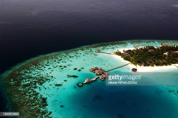 Aerial view of the Hotel Huvafen Fushi during 2007 in Huvafen Fushi North Male Atoll Maldive Islands