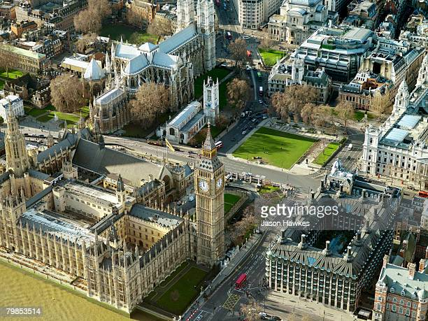 Aerial view of the Houses of Parliament Big Ben and Westminster Cathedral on January 14 2007 in London