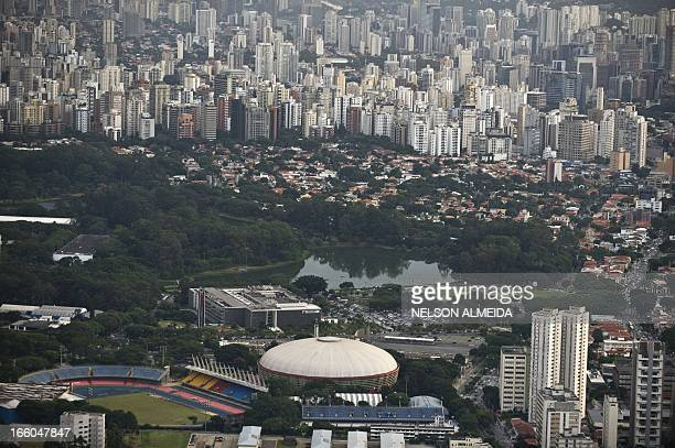 Aerial view of the Ibirapuera Park in dowtown Sao Paulo Brazil on April 4 2013 AFP PHOTO / Nelson ALMEIDA