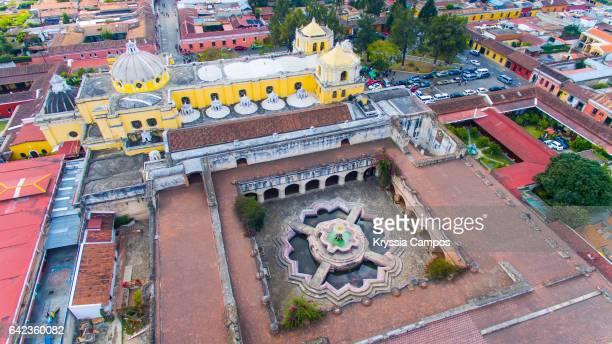 """Aerial view of the """"Iglesia y Convento de Nuestra Señora de la Merced"""" in Antigua, Guatemala"""