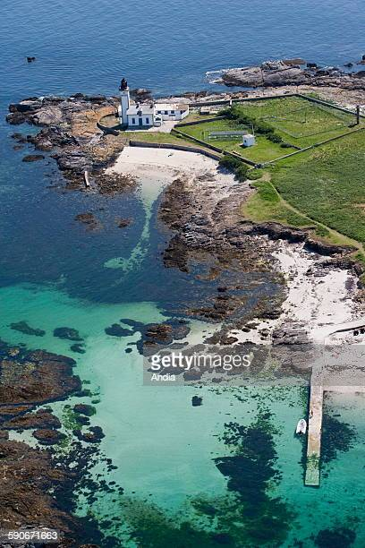 Aerial view of the 'Ile aux Moutons' half way to continent part of the archipelago Brittany Finistere department The lighthouse Glenan Islands...