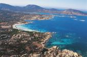 Aerial view of the island Asinara Sardinia Italy