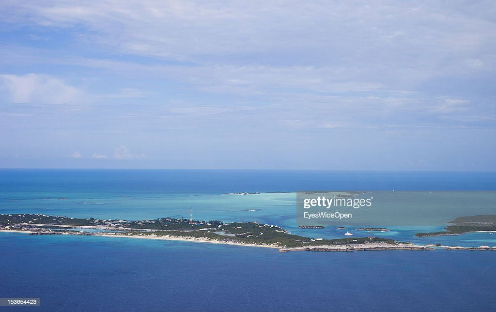Aerial view of the islands and atolls of the Exumas in the turquoise blue carribean sea on June 15, 2012 in Exumas, The Bahamas.