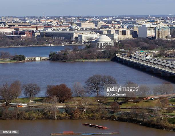 A aerial view of the Jefferson Memorial photographed on December 9 2011 in Washington DC