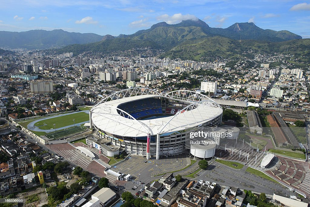 Aerial view of the Joao Havelange Stadium locally known as Engenhao on April 11 2013 in Rio de Janeiro Brazil Engenhao will host Track and Field...