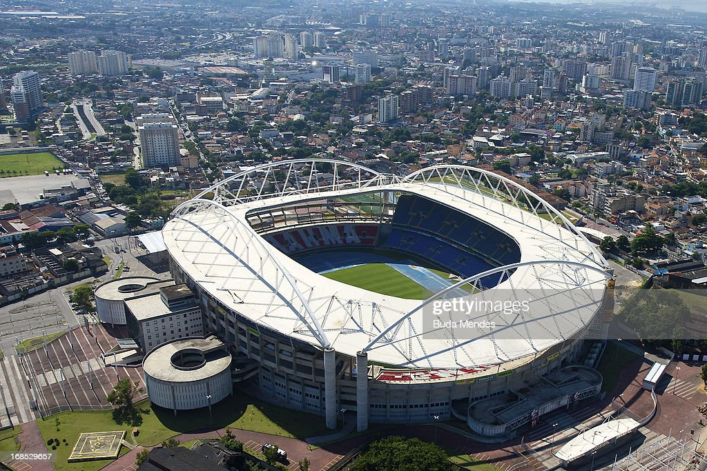 Aerial view of the Joao Havelange Stadium, locally known as Engenhao, on May 10, 2013 in Rio de Janeiro, Brazil. Engenhao will host Track and Field events in the next Olympics. It is now closed due to structural problems with its roof. Local authorities argue that the Engenhao is not safe to host public events until the problems are fixed. This stadium is also the home of Botafogo, of the Brazilian Serie A.