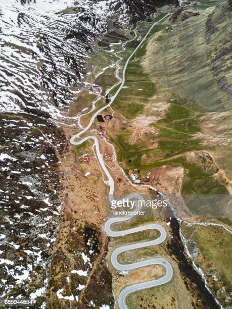 aerial view of the julierpass in switzerland