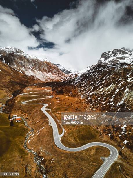 aerial view of the julierpass in switzerland