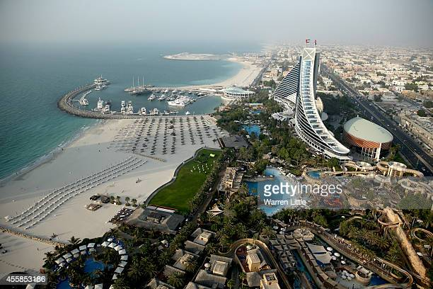 A aerial view of the Jumeirah Beach hotel on September 17 2014 in Dubai United Arab Emirates