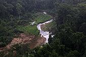 Aerial view of the Kaha Kamasa archaeological site in La Mosquitia northeast of Tegucigalpa on January 12 2016 Honduras started a major...