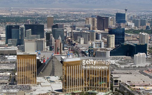 Down! Aerial view las vegas strip are