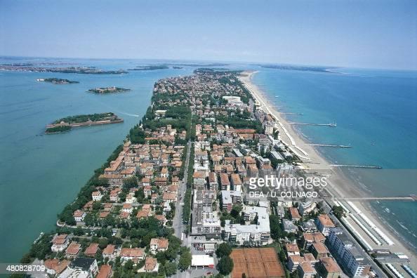Aerial view of the Lido of Venice Veneto Region Italy