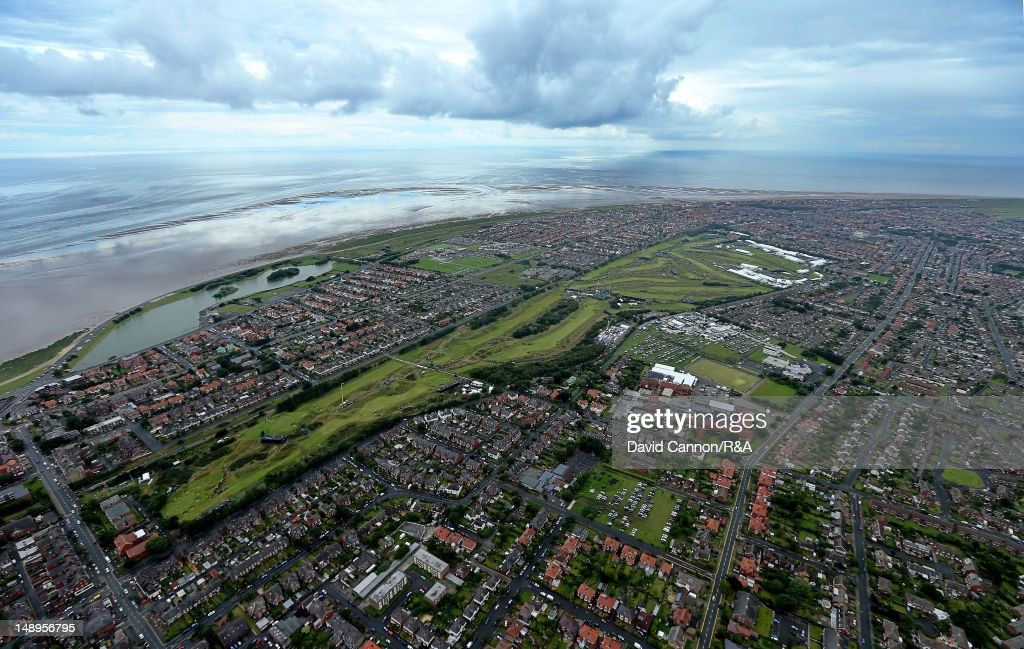 Aerial view of the links and surrounding area during the second round of the 141st Open Championship at Royal Lytham & St Annes Golf Club on July 20, 2012 in Lytham St Annes, England.
