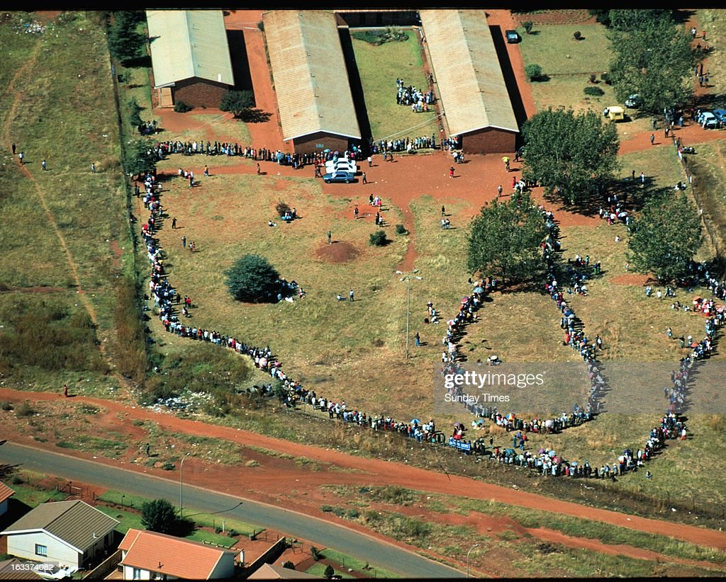 Aerial view of the long queues of voters during the 1994 general elections on April 27, 1994 in South Africa.