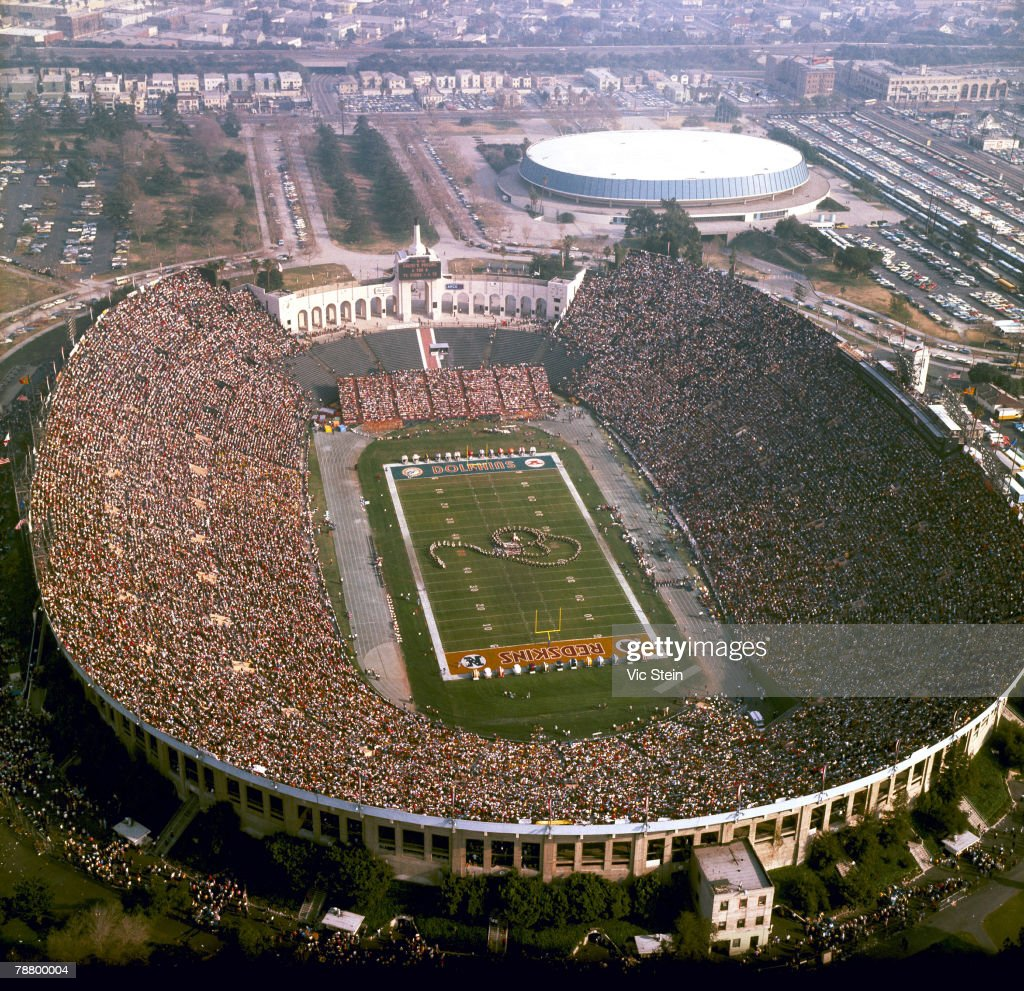Aerial view of the Los Angeles Coliseum during a 147 Miami Dolphins win over the Washington Redskins in Super Bowl VII on January 14 1973