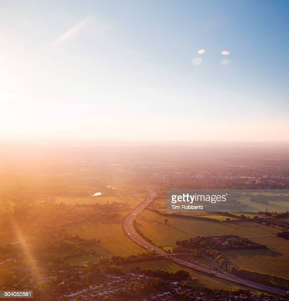Aerial view of the M25, London.