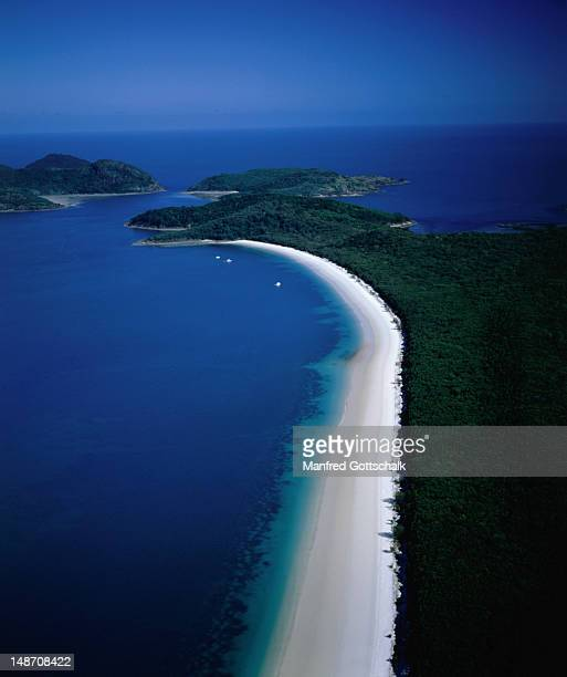 Aerial view of the magnificent Whitehaven Beach in the Whitsunday Islands.