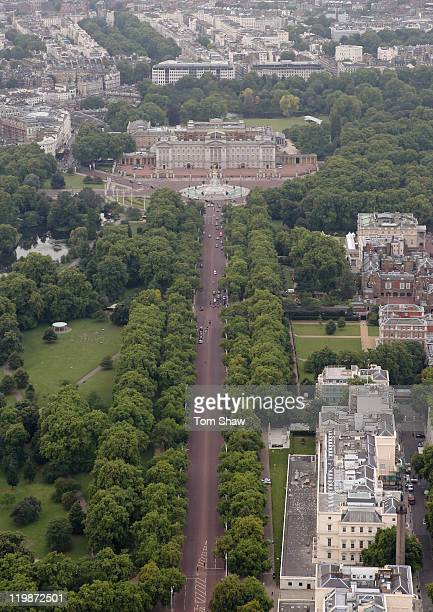 Aerial view of The Mall which will host the Marathon and Race Walk and Road Cycling events during the London 2012 Olympic Games on July 26 2011 in...