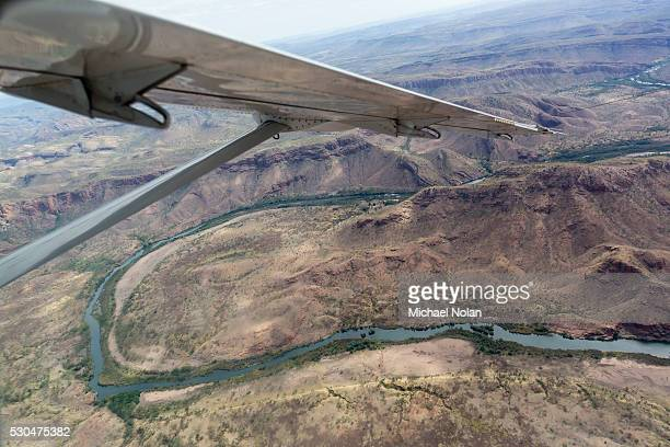 Aerial view of the man-made Ord River between Lake Kununurra and a Diversion Dam built in 1972, Kimberley, Western Australia, Australia, Pacific