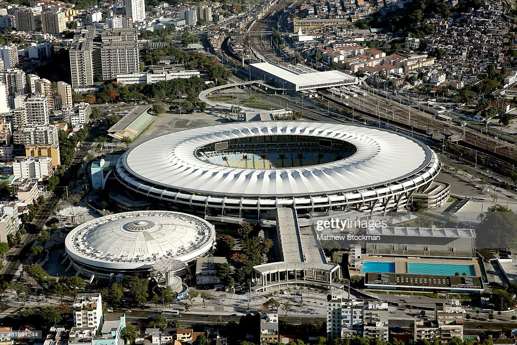 Aerial view of the Maracana Complex a Rio 2016 Olympic Games venue is shown with nearly one year to go until the Rio 2016 Olympic Games on July 21...