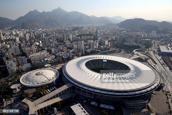 Aerial view of the Maracana Complex with one year to go to the Rio 2016 Olympic Games on August 5 2015 in Rio de Janeiro Brazil