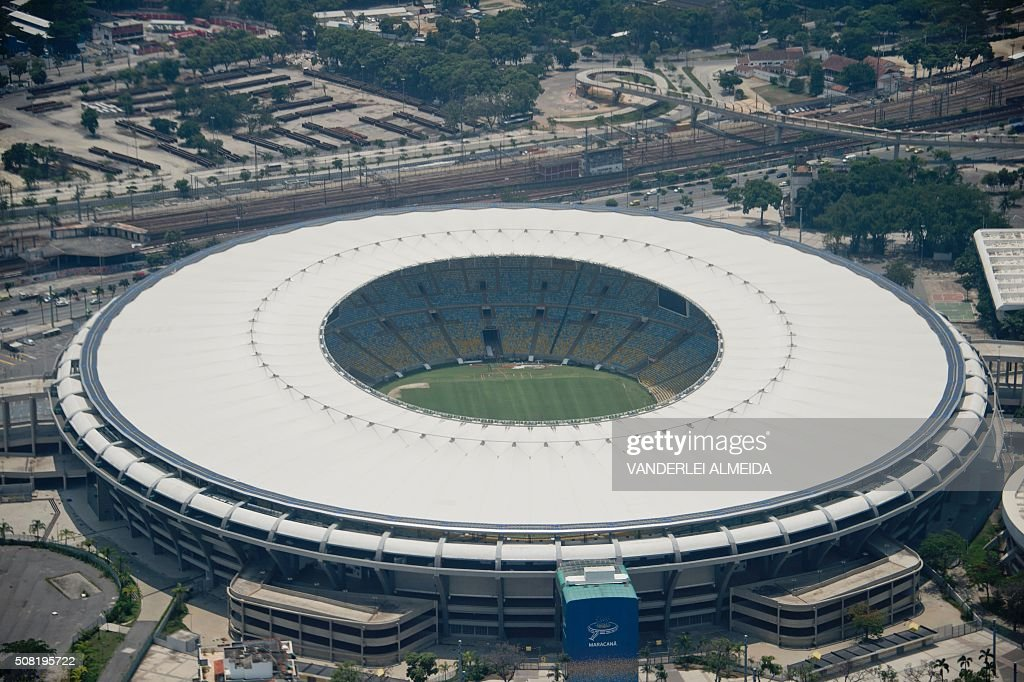 Aerial view of the Maracana Stadium in Rio de Janeiro Brazil on February 3 2016 Stadiun Olimpic better known as 'Engenhão' / AFP / VANDERLEI ALMEIDA