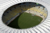 Aerial view of the Maracana Stadium which is undergoing renovations for the FIFA Brazil 2013 Confederations Cup and the FIFA Brazil 2014 World Cup on...