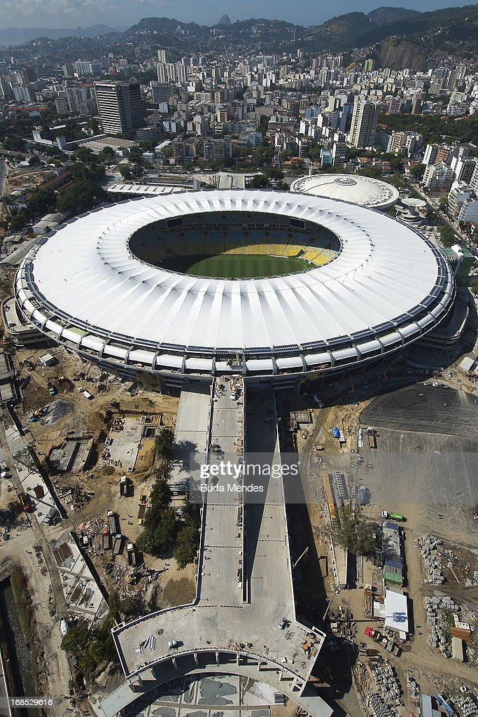 Aerial view of the Mario Filho (Maracana) stadium on May 10, 2013 in Rio de Janeiro, Brazil. (Photo by Buda Mendes/LatinContent/Getty Images). The Maracana stadium will host the upcomig Confederations Cup, the Brazil 2014 FIFA World Cup and the 2016 Summer Olympics