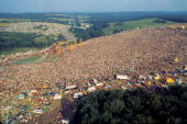 Aerial view of the massive crowd in attendance at the Woodstock Music and Arts Fair in Bethel New York August 15 17 1969