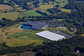 Aerial view of the McLaren Formula One Headquarters and sports car production factory near Woking
