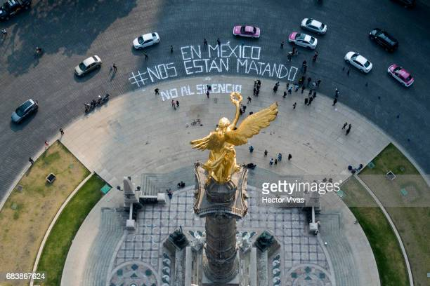 Aerial view of the Mexican journalists' message that reads in Spanish 'In Mexico they are killing us' during a demonstration to draw attention to the...