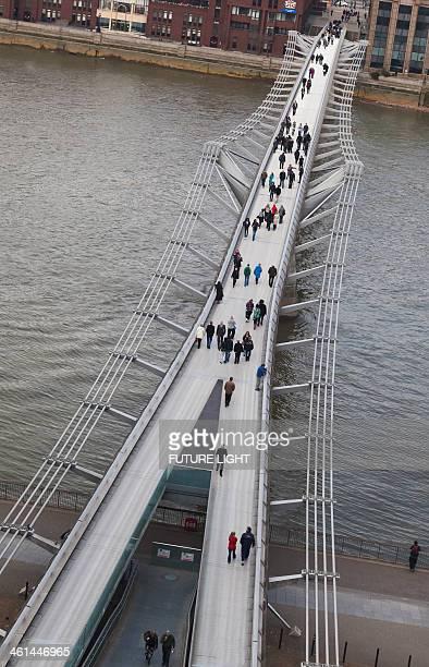 Aerial view of the Millennium Bridge and River Tha