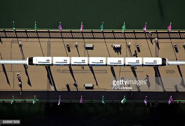 Aerial view of the monorail on Pyrmont Bridge Darling Harbour Sydney 5 January 2006 AFR Picture by PHIL CARRICK
