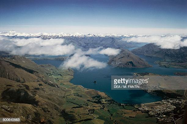 Aerial view of the Mount Cook National Park South Island New Zealand