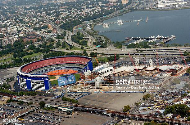 Aerial view of the New York Mets' new ballpark Citi Field as it's under construction next to the Mets' current home field Shea Stadium