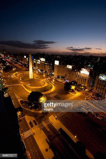 Aerial View Of The Obelisk On Avenida 9 De Julio At Night Buenos Aires Capital Federal Argentina