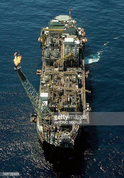 Aerial view of the oil platform P50 of the Brazilian oil company Petrobras taken 21 April 2006 at the Campos offshore oil camp 320 Km north of Rio de...