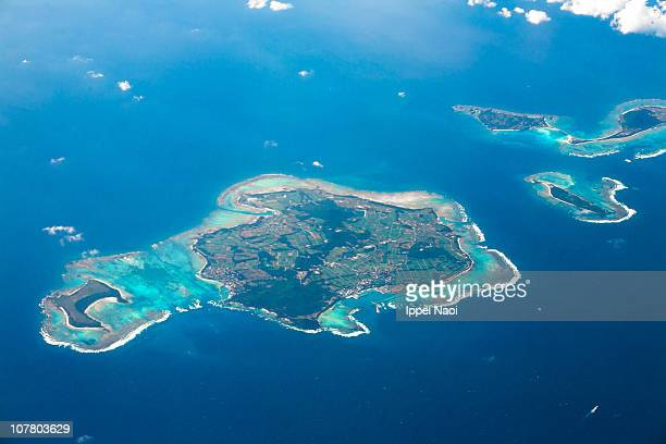Aerial view of the Okinawa coral islands, Japan